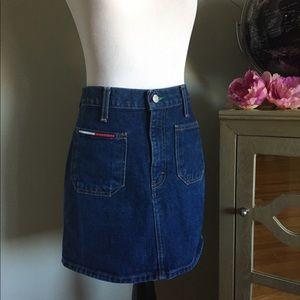 Tommy Hilfiger Skirt Jean Denim Retro Size 27